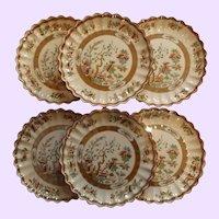 Set of 6 English Copeland Plates, Indian Tree Pattern