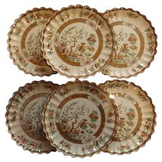 Set of 6 English Copeland Plates, Indian Tree Pattern