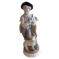 Antique Sitzendorf Figurine of a Boy with Love Letter, Bird and Sheep