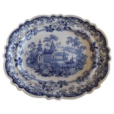 Large Antique Hicks Meigh English Blue & White Platter, Priory Pattern