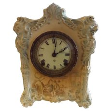Antique Ansonia Mantel Clock with Porcelain Case
