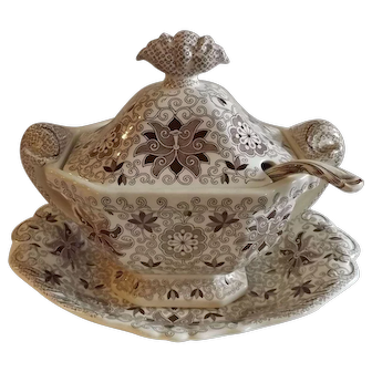 Mason's Ironstone Bow Bells Brown & White Tureen, Under Plate and Ladle