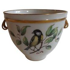 KPM Scepter Mark Cachepot Pot with Hand Painted Bird Decoration