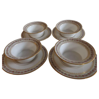 Set of 4 Jean Pouyat French Limoges Ramekins with Pink Roses