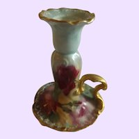 Antique Limoges Candlestick with Cabbage Rose Accent