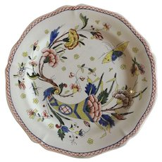 Antique French Gien Faience Plate with Butterfly