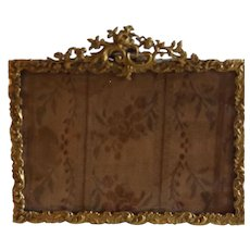 Antique French Easel Gilt Bronze Frame with Tapestry