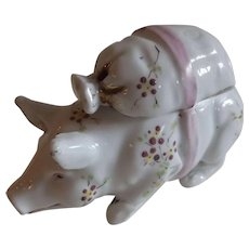 Sweet Vintage French Porcelain Pig Condiment