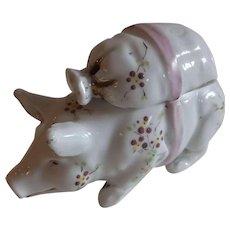Sweet Vintage French Porcelain Pig Condiment
