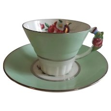 Circa 1930's English Paragon China Cup & Saucer with Floral Handle