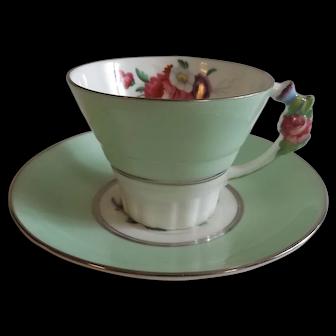 Circa 1930's English Paragon China Cup & Saucer with Floral Handle