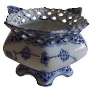 Royal Copenhagen Blue Fluted Full Lace Open Sugar Bowl