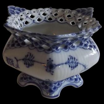 Royal Copenhagen Blue Fluted Full Lace Open Sugar Bowl