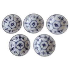 Set of 5 Royal Copenhagen Blue Fluted Plain Butter Pats