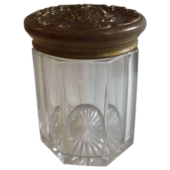 Antique Glass Humidor with Putti Cupid Embossed Metal Top