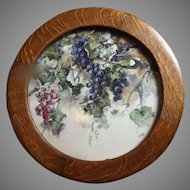 Truly Lovely Antique Painting on Porcelain with Round Oak Frame