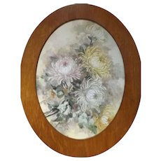 Beautiful Hand Painted Porcelain Plaque with Oak Frame..Stunning