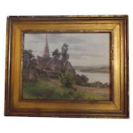 19th Century Antique French Oil Painting in Gilt Frame