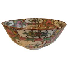 Large Mid Century Rose Medallion Centerpiece Bowl
