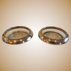 Pair of Mid Century Sterling & Glass Trophy Coasters
