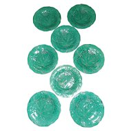 "Set of 8 Wedgwood Green 9"" Majolica Plates"