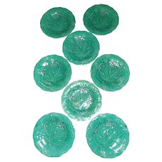 "Set of 8 Wedgwood Green 9"" Majolica Plates"