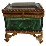 Marvelous Little Antique Jewelry Casket with Green Glass