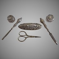 Antique English Sterling Silver Vanity Manicure Set