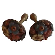 Pair of Carved Relief Vintage Curtain Tiebacks