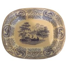 Antique English Staffordshire Blue and White Platter