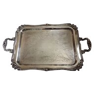 Heavy Vintage American Sheridan Silver Plate Footed Tray