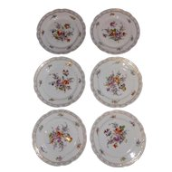 Set of Stunning Hand Painted Dresden Flower Plates with Gold Rose Mark