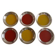 Set of Six Towle Sterling Silver and Enamel Coasters