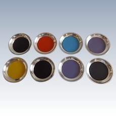 Set of Eight Towle Sterling Silver and Enamel Coasters