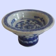Antique Chinese Export Canton Ware Pedestal Salt or Sauce