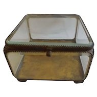 Large Antique Ormolu and Beveled Glass Jewelry Casket Vitrine