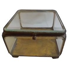 Large Antique Ormolu and Beveled Glass Jewelry Casket Vitrine