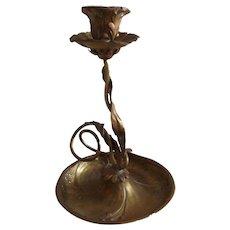Marvelous 19th Century Art Nouveau Brass Candlestick