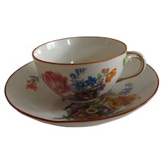 Exquisite Antique Meissen Marcolini Cup and Saucer