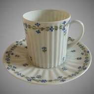 Sweet Limoges Demitasse Cup and Saucer with Blue Cornflowers