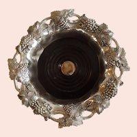 Beautiful Antique English Silver Plate Wine Coaster with Grape Design