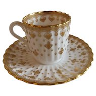 English Spode Demitasse Cup and Saucer with Fleur de Lis Decoration