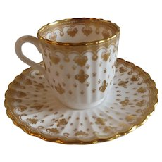 English Spode Demitasse Cup and Saucer in Fleur de Lys Pattern