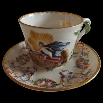Marvelous Antique Ginori Doccia Capodimonte Cup and Saucer