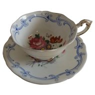 English Paragon Cup and Saucer with Cabbage Roses