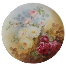 Stunning Antique Limoges Charger Plate with Cabbage Roses