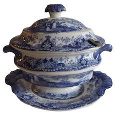 Antique English Blue and White Transferware Sauce Tureen and Underplate