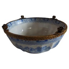 Lovely Made in Germany Blue and White Bowl with Ormolu Rose Accent
