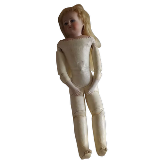"""Antique 17"""" Bisque Doll with Leather Body"""