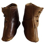 Pair of Antique Leather Button Up Doll Shoes Boots